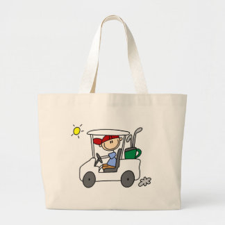Golfer in Golf Cart Large Tote Bag