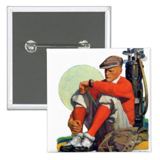 Golfer Kept Waiting 2 Inch Square Button