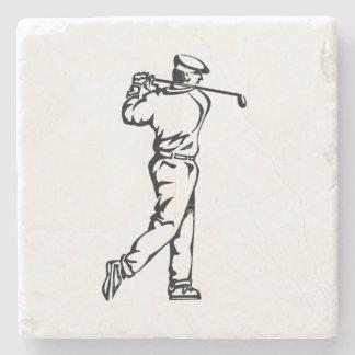 Golfer on Leather Look Stone Coaster