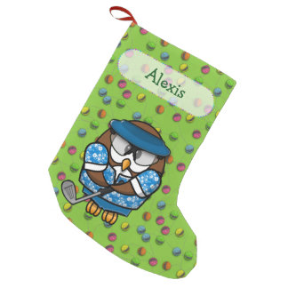 golfer owl Christmas stocking