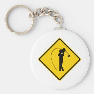 Golfer Road Sign Keychain
