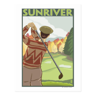 Golfer Scene - Sun River, Oregon Postcard