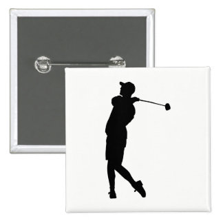 Golfer Silhouette 2 Inch Square Button