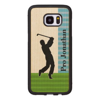 """Golfer Silhouette """"Add Your Name"""" Wood Samsung Galaxy S7 Edge Case"""