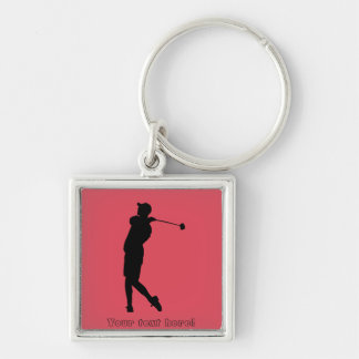 Golfer Silver-Colored Square Keychain