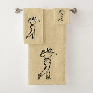 Golfer Sport Design Leather Look Bath Towel Set