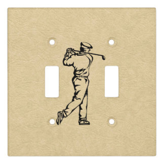 Golfer Sport Design Leather Look Light Switch Cover