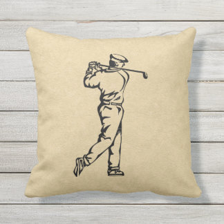 Golfer Sport Design Leather Look Outdoor Pillow