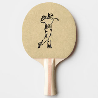 Golfer Sport Design Leather Look Ping Pong Paddle
