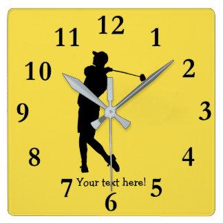 Golfer Square Wall Clock