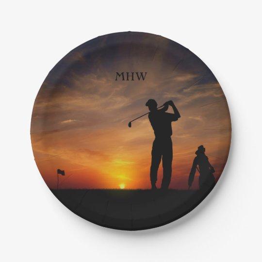Golfer Sunset custom monogram paper plates 7 Inch Paper Plate