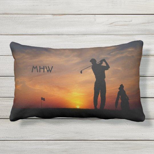 Golfer Sunset custom monogram throw pillows