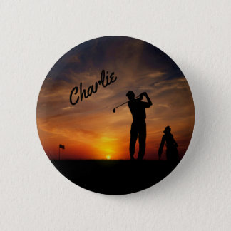 Golfer Sunset custom name buttons