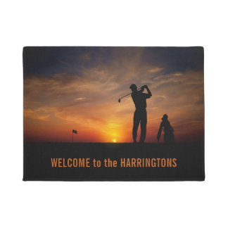 Golfer Sunset custom text door mat