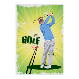 Golfer Swinging Golf Club Poster