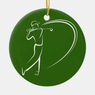 Golfer Teeing Off Ceramic Ornament