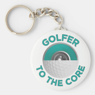 Golfer To The Core Button Keychain