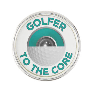 Golfer To The Core Lapel Pin, Silver Plated Lapel Pin