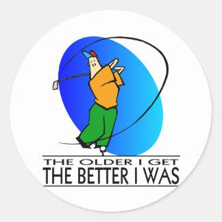 Golfer's  Birthday Classic Round Sticker