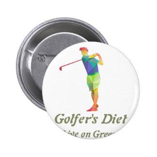 Golfers Diet - Live on Greens 2 Inch Round Button