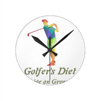Golfers Diet - Live on Greens Wall Clock