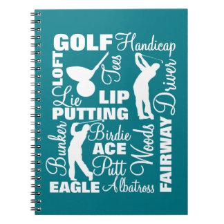 Golfers Golf Terminology Text Graphic Notebook