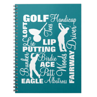 Golfers Golf Terminology Text Graphic Notebooks