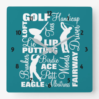 Golfers Golf Terminology Text Graphic Square Wall Clock