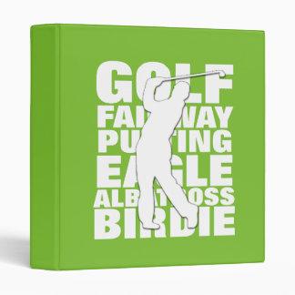Golfers Golf Terminology Typography 3 Ring Binder