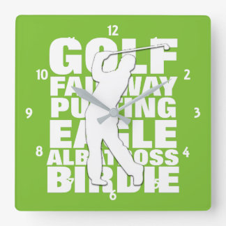 Golfers Golf Terminology Typography Clock