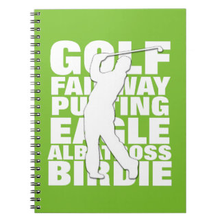 Golfers Golf Terminology Typography Spiral Notebook