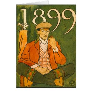 Golfeur assis 1899 carte de vœux