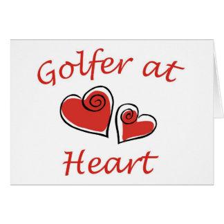 Golfeur au coeur cartes de vœux