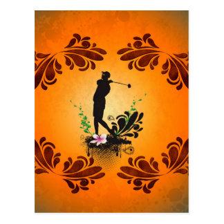 Golfeur avec des elments floraux carte postale