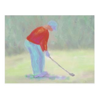 Golfeur, carte postale