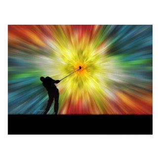 Golfeur de silhouette de colorant de cravate cartes postales