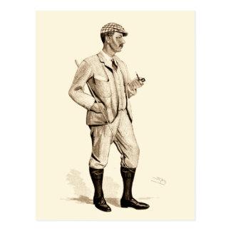 Golfeur vintage avec le tuyau et les bottes de carte postale