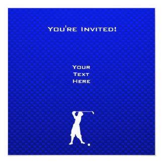 Golfeur vintage bleu carton d'invitation  13,33 cm