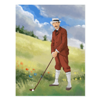 Golfeur vintage dans le rugueux carte postale