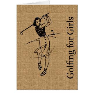 Golfeur vintage de fille sur la toile de jute de carte de vœux