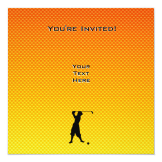 Golfeur vintage jaune-orange carton d'invitation  13,33 cm