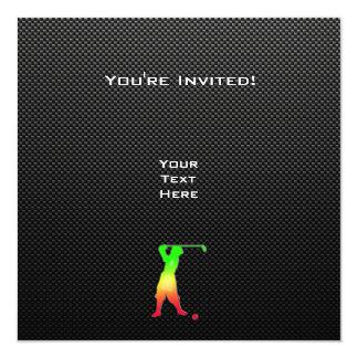 Golfeur vintage lisse carton d'invitation  13,33 cm
