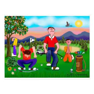 Golfeurs de bande dessinée - pour l'amour du golf carte postale