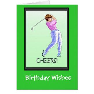Golfing Birthday cards, Lady golfer Card