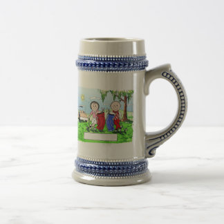 Golfing Couple - Personalized Cartoon Beer Stein