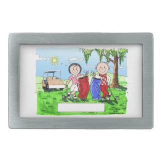 Golfing Couple - Personalized Cartoon Belt Buckle