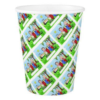 Golfing Couple - Personalized Cartoon Paper Cup