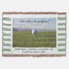 Golfing Custom Golf Photo Green Striped Throw Blanket