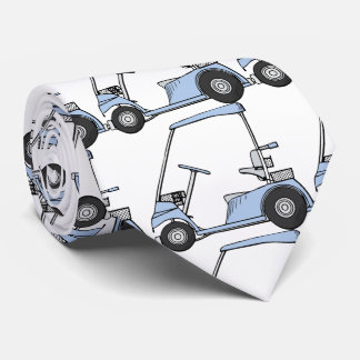 Golfing. Golf car, golf cart. Tie