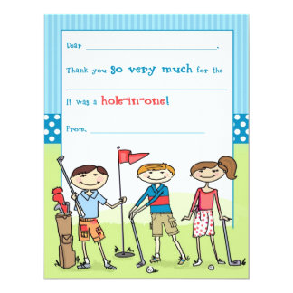 "Golfing Kids Fill-in-the-Blank Note Cards 4.25"" X 5.5"" Invitation Card"